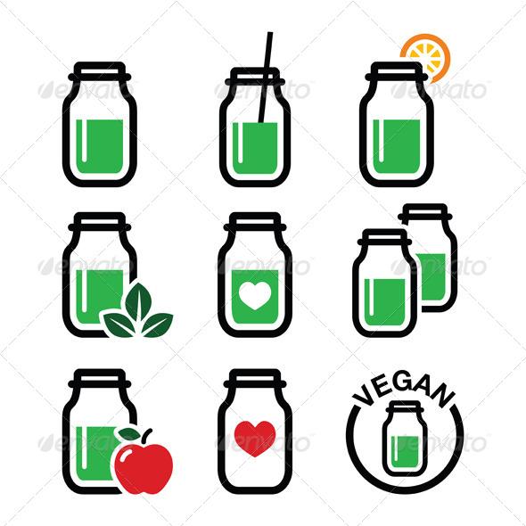 GraphicRiver Green Shake Green Smoothie Jar Icons Set 8721657