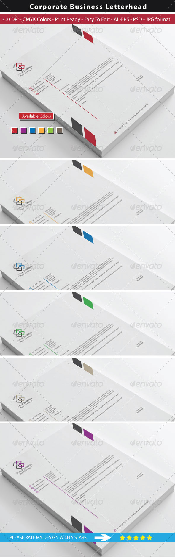 GraphicRiver Clean Stylish Business Letterhead 8722115