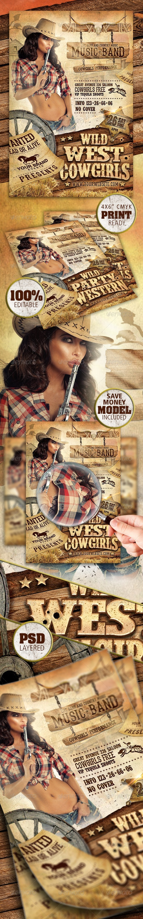 GraphicRiver Wild West Cowgirls Flyer 8722137