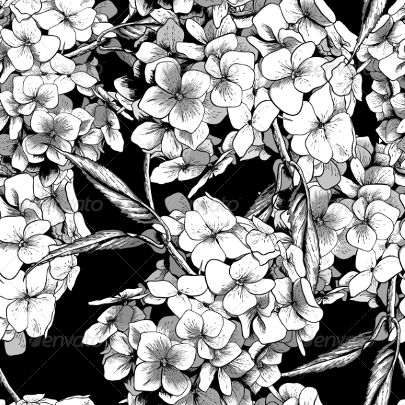 GraphicRiver Monochrome Seamless Background with Hydrangea 8722442