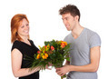 Man gives his girlfriend a beautiful bunch of flowers - PhotoDune Item for Sale