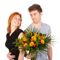 Man and woman standing backwards with a beautiful bunch of flowers - PhotoDune Item for Sale