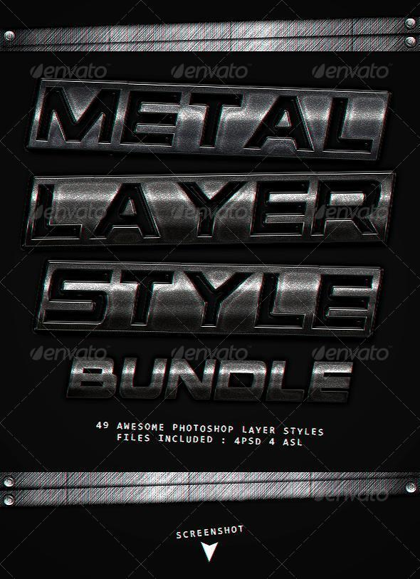 GraphicRiver Metal Layer styles Bundle 8723773