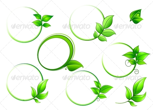 GraphicRiver Frames Set with Green Leaves 8724225