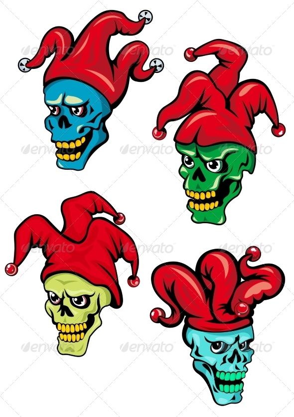 GraphicRiver Cartoon Clown and Joker Skulls 8724231