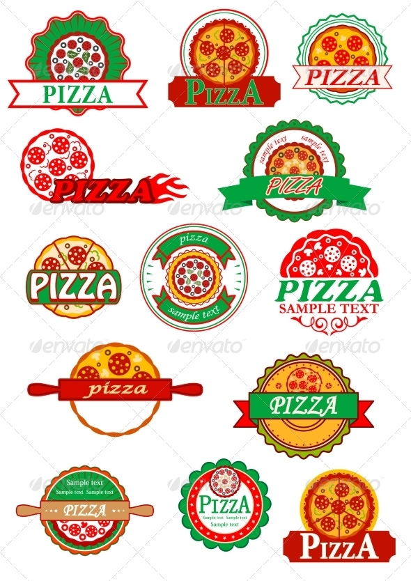 GraphicRiver Italian Pizza Banners Emblems and Labels Set 8724240