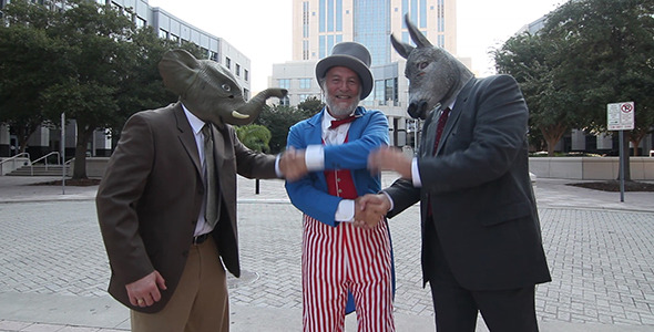 Politicians Shake Hands With Uncle Sam