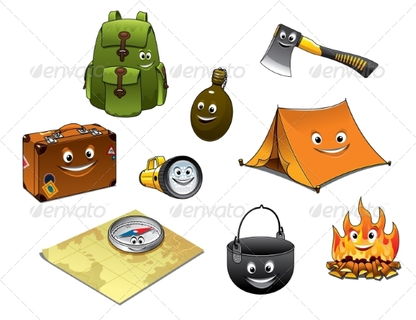 GraphicRiver Cartoon Camping and Travel Icons Set 8724618