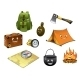 Cartoon Camping and Travel Icons Set - GraphicRiver Item for Sale