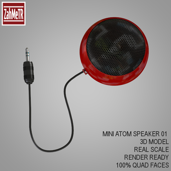 3DOcean Mini Portable Atom Speaker 3D Model 8724623