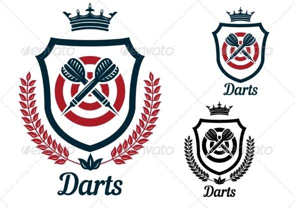 GraphicRiver Darts Emblems or Signs Set 8724626