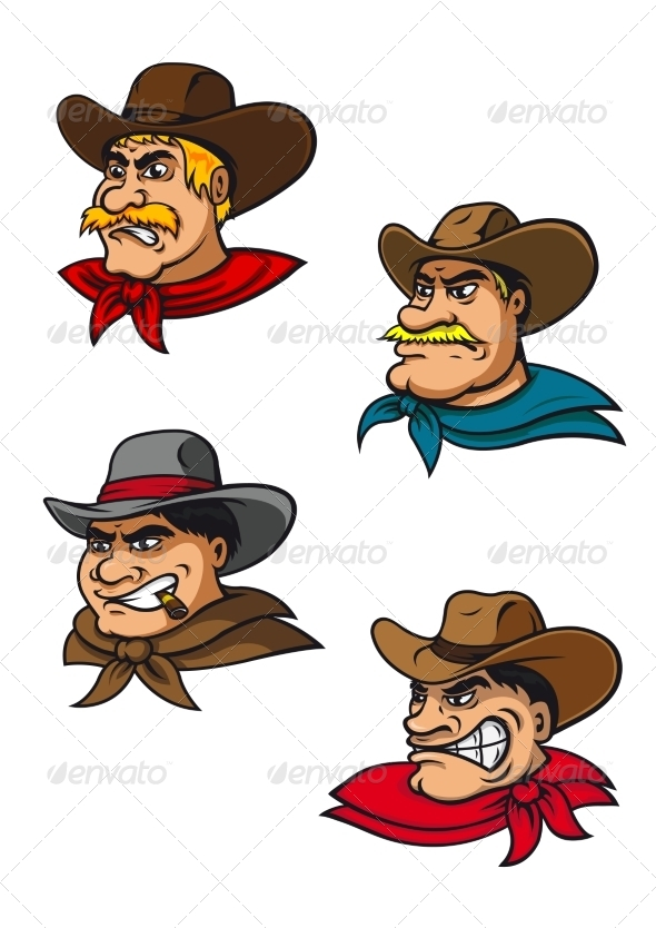 GraphicRiver Cartoon Cowboy Characters 8724664