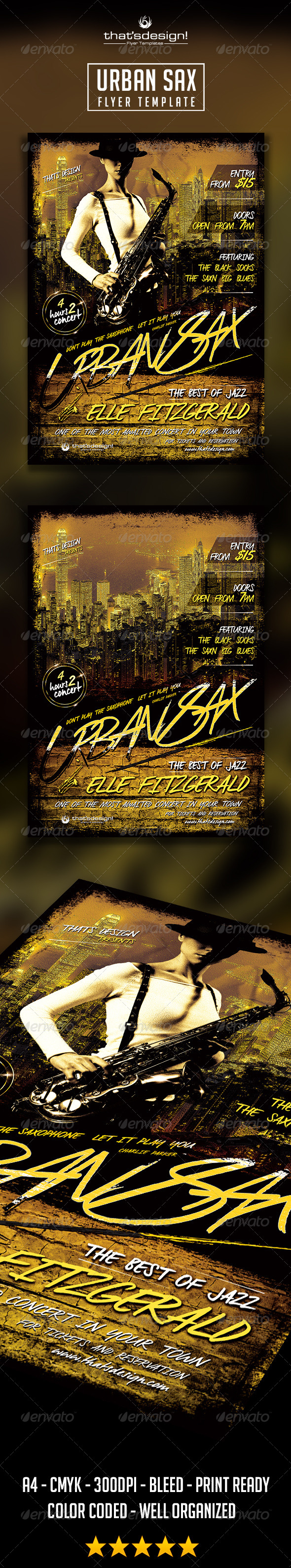 GraphicRiver Urban Sax Flyer Template 8724669