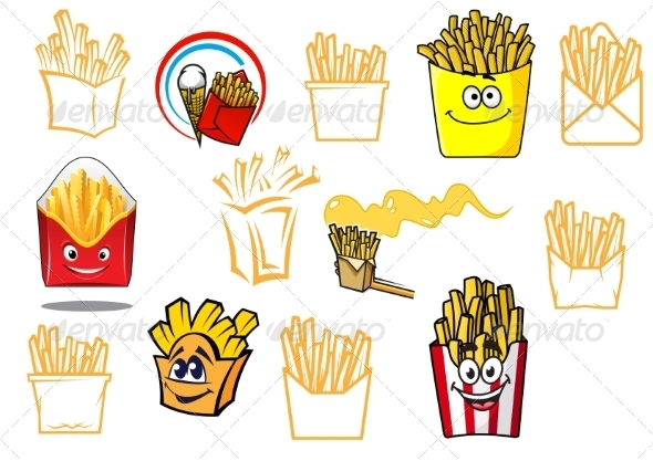 GraphicRiver Cartoon Fries Takeaway Designs 8724670