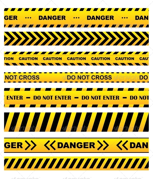 GraphicRiver Yellow Warning Tapes Set 8724684