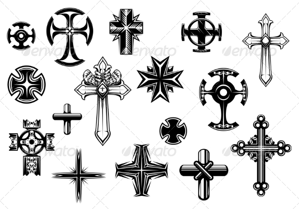 GraphicRiver Religious Crosses Set 8724691