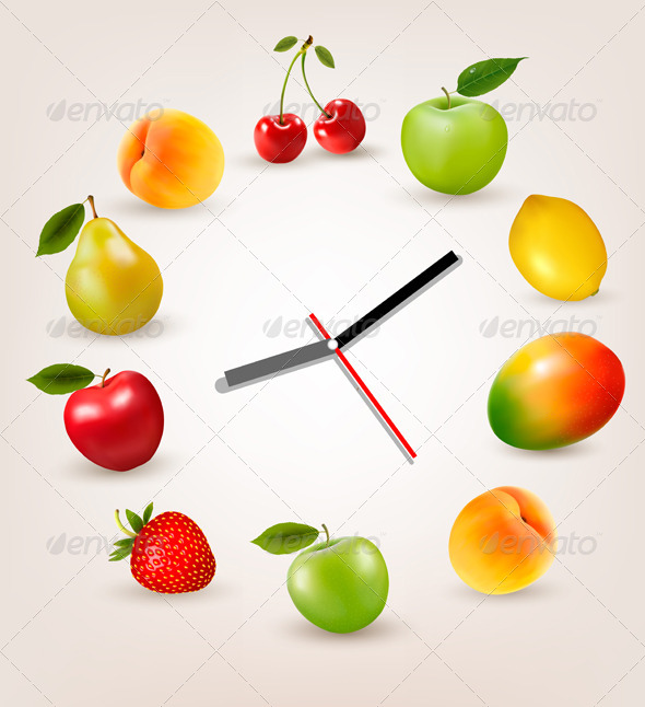 GraphicRiver Clock with Fruit Diet Time Concept 8724706