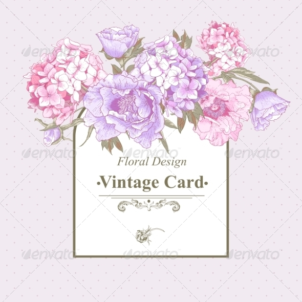 GraphicRiver Vintage Greeting Card with Hydrangea and Peonies 8724812