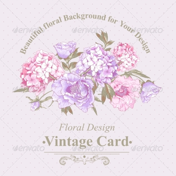 GraphicRiver Vintage Greeting Card with Hydrangea and Peonies 8724816