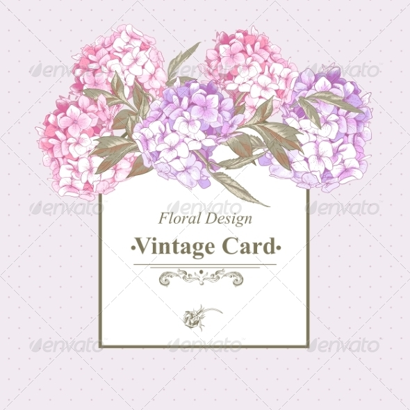 GraphicRiver Vintage Greeting Card with Hydrangea and Peonies 8724819