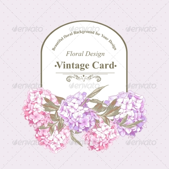 GraphicRiver Vintage Greeting Card with Hydrangea and Peonies 8724822