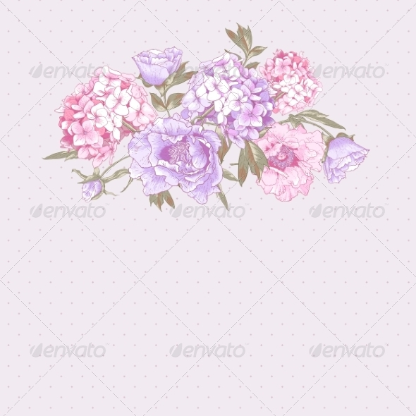 GraphicRiver Vintage Greeting Card with Hydrangea and Peonies 8724827