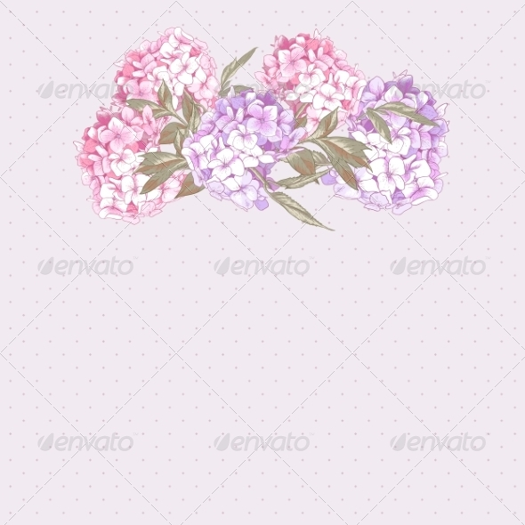 GraphicRiver Vintage Greeting Card with Hydrangea and Peonies 8724829
