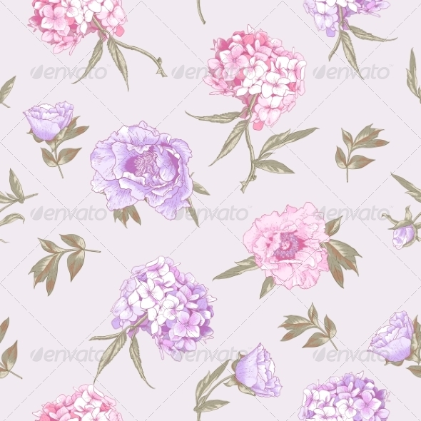 GraphicRiver Seamless Background with Hydrangea and Peonies 8724837