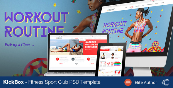ThemeForest KickBox Fitness Sport Events PSD 8676689