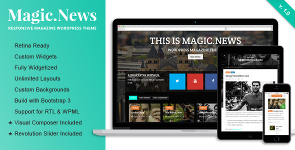 ThemeForest MagicNews Responsive WordPress Magazine Theme 8724924