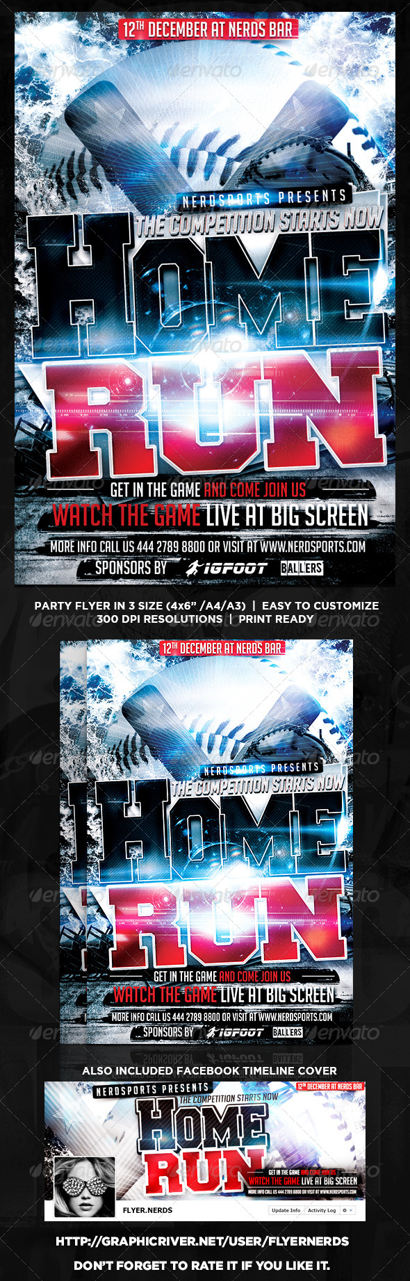 GraphicRiver HomeRun Baseball Flyer 8724935