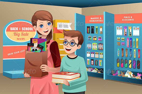 GraphicRiver Mother and Son Buying School Supplies 8724991
