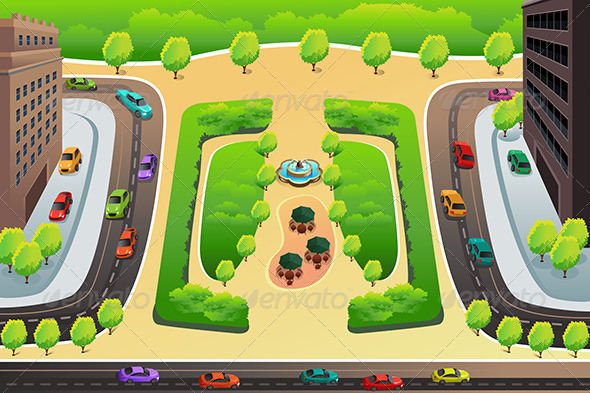 GraphicRiver View of a Highway and a Park from Above 8724996