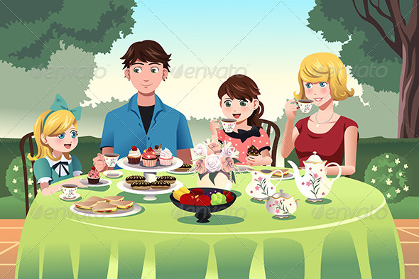 GraphicRiver Family having a Tea Party Together 8725320