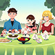 Family having a Tea Party Together - GraphicRiver Item for Sale