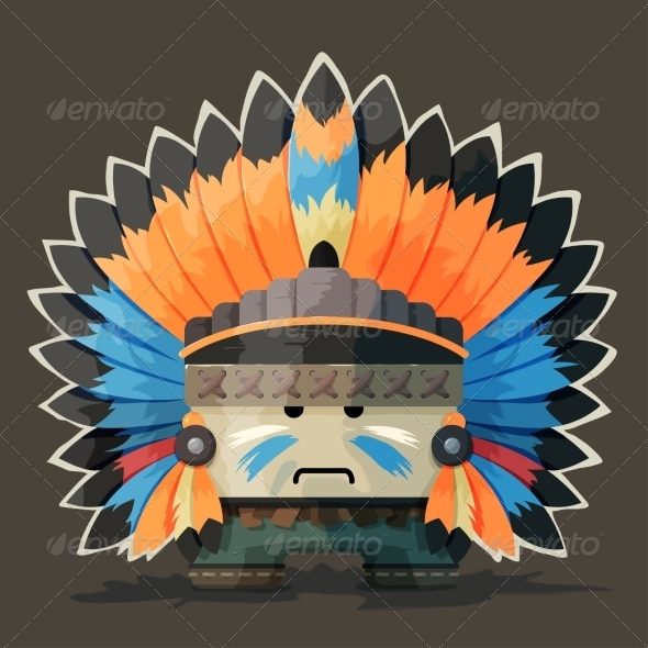 GraphicRiver Illustration of an Native American 8725457