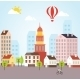 Seamless Vector Sunny Town Landscape Background - GraphicRiver Item for Sale
