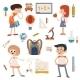 Cartoon School Retro Children Set - GraphicRiver Item for Sale