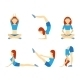 Yoga Girl in Six Positions - GraphicRiver Item for Sale