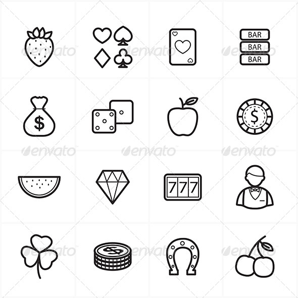 GraphicRiver Flat Line Icons For Casino Icons and Game Icons 8726210