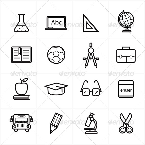 GraphicRiver Flat Line Icons For Education Icons 8726265