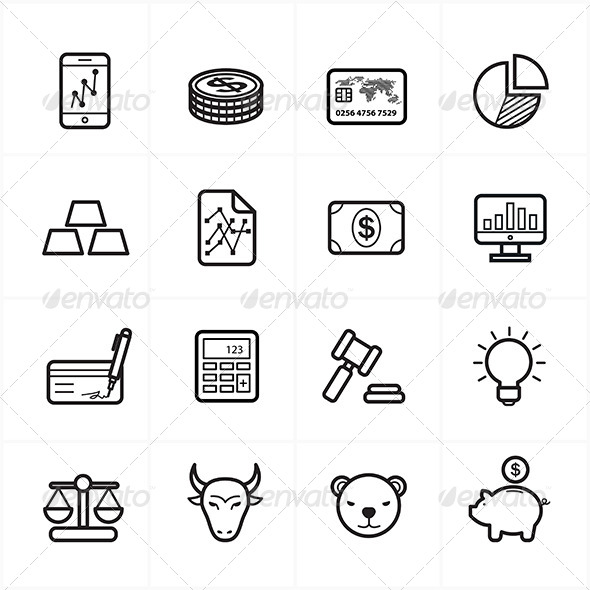 GraphicRiver Flat Line Icons For Finance Icons 8726274