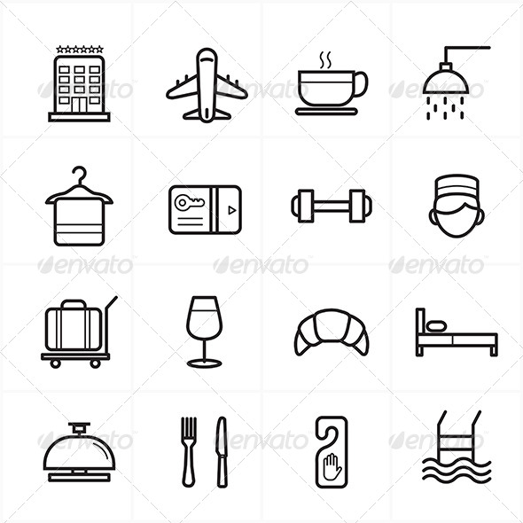 GraphicRiver Flat Line Icons For Hotel Icons and Travel Icons 8726327