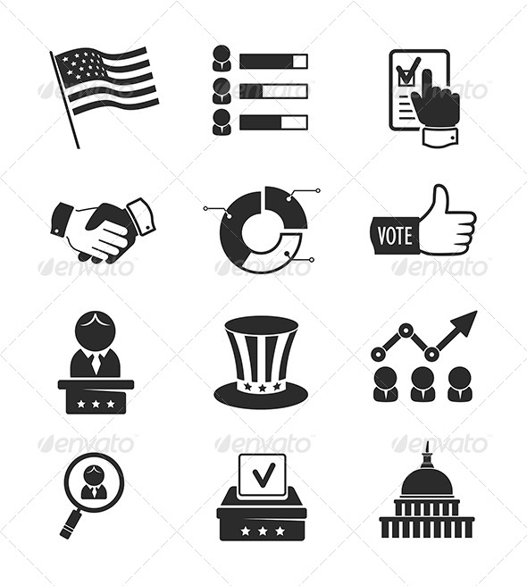 GraphicRiver Voting And Elections Icons Set 8726405