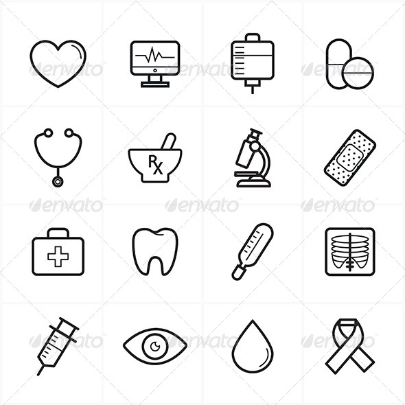 GraphicRiver Flat Line Icons For Medical Icons and Healthcare 8726417