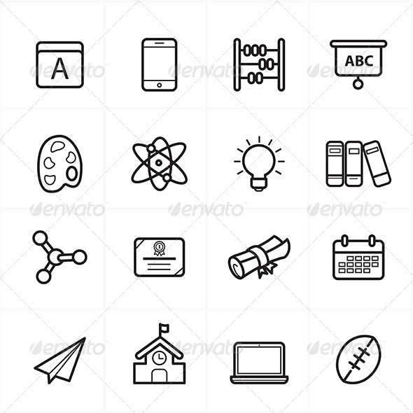 GraphicRiver Flat Line Icons For School Icons 8726426