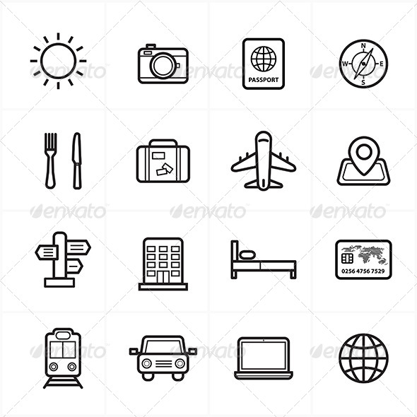 GraphicRiver Flat Line Icons For Travel Icons 8726437