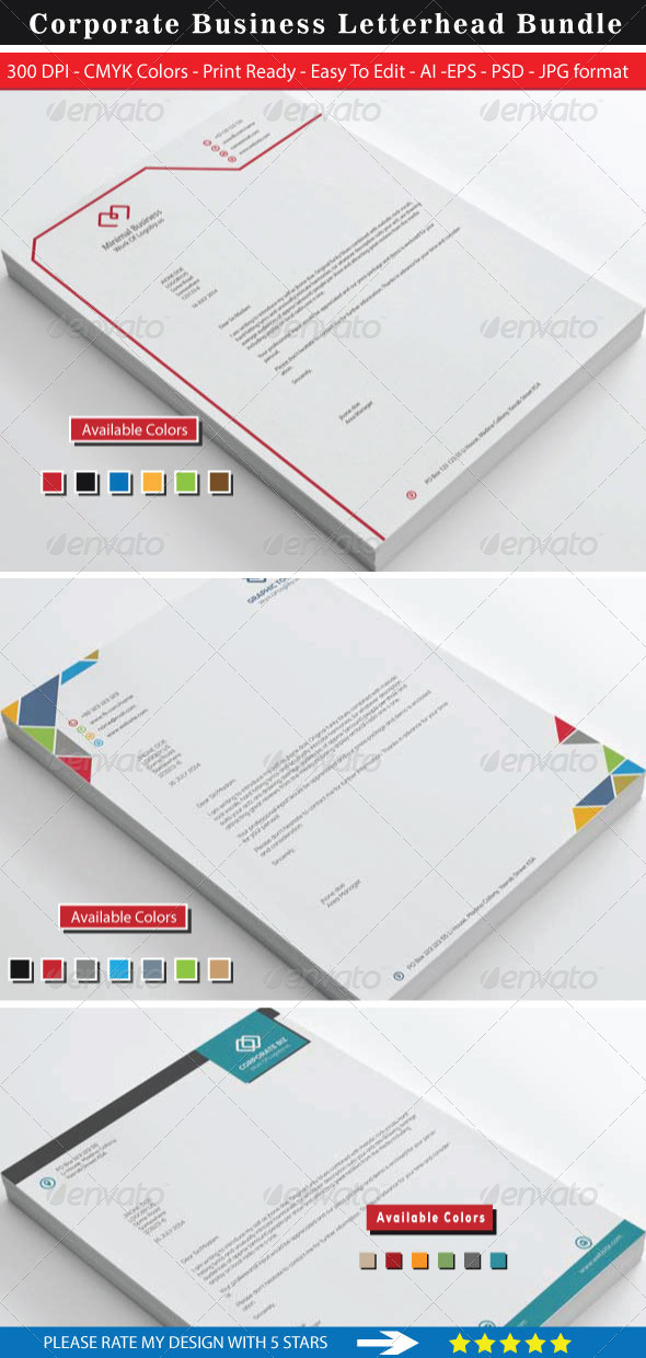 GraphicRiver Minimal Corporate Business Letterhead Bundle 8726610