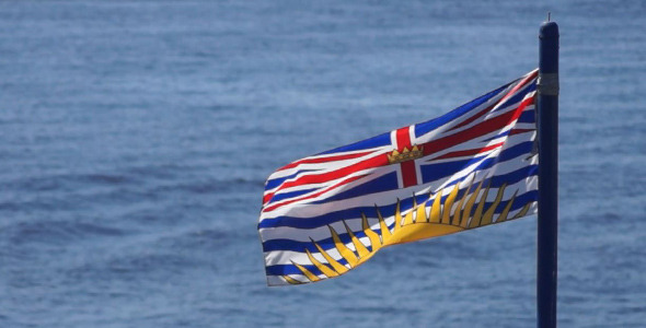 British Columbia Flag On Water