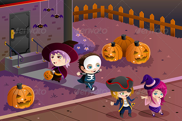 GraphicRiver Kids Wearing Halloween Costumes 8727250